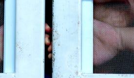 Χέρι με το φράκτη μετάλλων, που δεν αισθάνεται καμία ελευθερία Στοκ Εικόνες
