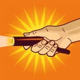 Χέρι με το φωτεινό φακό Στοκ Εικόνες