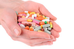 Χέρι με χάπια Στοκ φωτογραφίες με δικαίωμα ελεύθερης χρήσης