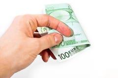 Χέρι με 100 ευρώ Στοκ εικόνα με δικαίωμα ελεύθερης χρήσης