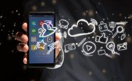 Χέρι μιας συσκευής εκμετάλλευσης ατόμων με τα εικονίδια Διαδικτύου όλα γύρω Στοκ φωτογραφίες με δικαίωμα ελεύθερης χρήσης