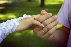Χέρι νυφών και νεόνυμφων ` s με τα χρυσά δαχτυλίδια Στοκ Φωτογραφία