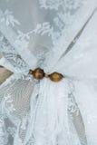 Χέρι ξύλου και λινού - γίνοντη γαμήλια διακόσμηση στοκ φωτογραφία με δικαίωμα ελεύθερης χρήσης