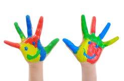 χέρι παιδιών που χρωματίζετ στοκ εικόνες με δικαίωμα ελεύθερης χρήσης