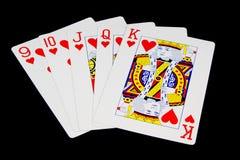 Χέρι παιχνιδιών καρτών στο μαύρο υπόβαθρο Στοκ εικόνα με δικαίωμα ελεύθερης χρήσης
