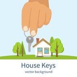 Χέρι που δίνει τα κλειδιά σπιτιών απεικόνιση αποθεμάτων