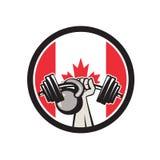 Χέρι που ανυψώνει τη σημαία Barbell Kettlebell Καναδάς Στοκ Εικόνες