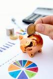 Χέρι που βάζει το νόμισμα στη piggy τράπεζα Στοκ Εικόνες