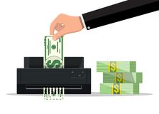 Χέρι που βάζει το τραπεζογραμμάτιο δολαρίων στη μηχανή καταστροφέων εγγράφων διανυσματική απεικόνιση