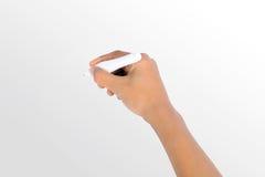 Χέρι που γράφει με τη μάνδρα που απομονώνεται Στοκ Φωτογραφίες