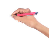 Χέρι που γράφει με τη μάνδρα που απομονώνεται Στοκ Εικόνα