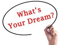 Χέρι που γράφει σε What's το όνειρό σας στο διαφανή πίνακα στοκ εικόνες με δικαίωμα ελεύθερης χρήσης