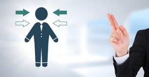 Χέρι που δείχνει επάνω με το εικονίδιο κατευθύνσεων εικονιδίων και βελών επιχειρηματιών Στοκ φωτογραφίες με δικαίωμα ελεύθερης χρήσης