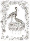 Χέρι που επισύρεται την προσοχή μερικό κτύπημα στη φωλιά στα chimnes, floral πλαίσιο γραπτό Στοκ Εικόνες