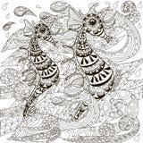 Χέρι που επισύρεται την προσοχή doodle seahorses στα κύματα, χρωματίζοντας απόθεμα σελίδων αντι πίεσης απεικόνιση αποθεμάτων