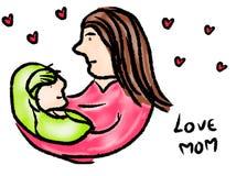 Χέρι που επισύρονται την προσοχή, κινούμενα σχέδια της μητέρας και του παιδιού που απομονώνονται στο άσπρο υπόβαθρο ελεύθερη απεικόνιση δικαιώματος