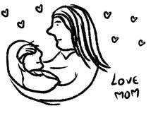 Χέρι που επισύρονται την προσοχή, κινούμενα σχέδια της μητέρας και του παιδιού που απομονώνονται στο άσπρο υπόβαθρο διανυσματική απεικόνιση