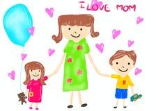 Χέρι που επισύρονται την προσοχή, κινούμενα σχέδια της μητέρας και του παιδιού που απομονώνονται στο άσπρο υπόβαθρο απεικόνιση αποθεμάτων