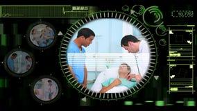 Χέρι που επιλέγει τα βίντεο των γιατρών στο νοσοκομείο απόθεμα βίντεο