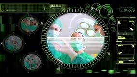 Χέρι που επιλέγει τα διάφορα χειρουργικά βίντεο από τις επιλογές απόθεμα βίντεο