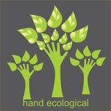 Χέρι που διαμορφώνει ένα δέντρο με τα φύλλα Στοκ Φωτογραφίες