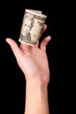 Χέρι που κρατά είκοσι δολάρια στοκ εικόνες