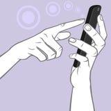 Χέρι που κρατά μια έξυπνη χειρονομία τηλεφώνων και βρυσών MultiTouch απεικόνιση αποθεμάτων