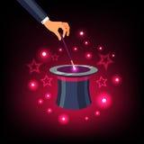 Χέρι που κρατά τη μαγική ράβδο πέρα από ένα μαγικό τοπ καπέλο διανυσματική απεικόνιση