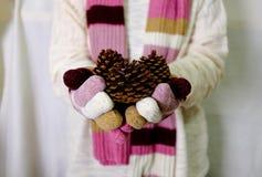 Χέρι που κρατά τη χρυσή και κόκκινη διακόσμηση με το άσπρο μαντίλι πουλόβερ και Στοκ Φωτογραφίες