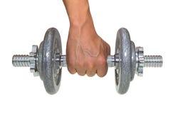 Χέρι που κρατά τον γκρίζο αλτήρα Στοκ εικόνες με δικαίωμα ελεύθερης χρήσης