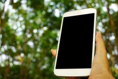 Χέρι που κρατά το άσπρο έξυπνο τηλέφωνο ή το κινητό τηλέφωνο με το υπόβαθρο φύσης Στοκ Φωτογραφία