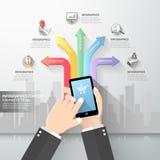 Χέρι που κρατά το έξυπνο τηλέφωνο με Διαδίκτυο των πραγμάτων Στοκ εικόνα με δικαίωμα ελεύθερης χρήσης