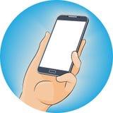 Χέρι που κρατά το κινητό τηλέφωνο στο επίπεδο ύφος σχεδίου με την κενή οθόνη - απεικόνιση Στοκ Φωτογραφίες