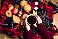 Χέρι που κρατά φλιτζανιών του καφέ της Apple μπισκότων κανέλας σταφυλιών την ξύλινη υποβάθρου τοπ άποψη έννοιας τρόπου ζωής φθινο Στοκ Εικόνες
