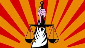 Χέρι που κρατά ψηλά τις κλίμακες της αναδρομικής 2$ας ζωτικότητας δικαιοσύνης ελεύθερη απεικόνιση δικαιώματος