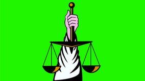 Χέρι που κρατά ψηλά τις κλίμακες της αναδρομικής 2$ας ζωτικότητας δικαιοσύνης διανυσματική απεικόνιση