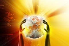 Χέρι που παρουσιάζει γήινη σφαίρα κοντά στην αλυσίδα Στοκ εικόνες με δικαίωμα ελεύθερης χρήσης
