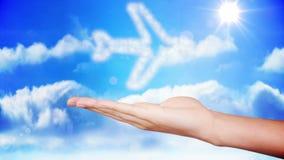 Χέρι που παρουσιάζει το σχέδιο σύννεφων αεροπλάνων απεικόνιση αποθεμάτων