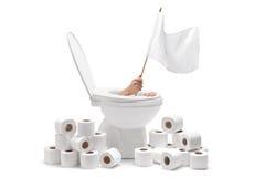 Χέρι που προκύπτει από μια τουαλέτα και που κρατά μια άσπρη σημαία στοκ φωτογραφία με δικαίωμα ελεύθερης χρήσης
