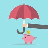 Χέρι που προστατεύει τη piggy τράπεζα απεικόνιση αποθεμάτων
