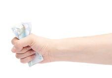Χέρι που συμπιέζει την ευρο- σημείωση είκοσι Στοκ Εικόνες