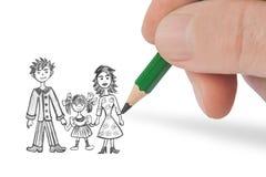 Χέρι που σύρει την ευτυχή οικογένεια η εικόνα μου στοκ εικόνα με δικαίωμα ελεύθερης χρήσης