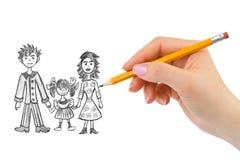 Χέρι που σύρει την ευτυχή οικογένεια στοκ εικόνα με δικαίωμα ελεύθερης χρήσης