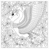 Χέρι που σύρει τον καλλιτεχνικό Κύκνο στα λουλούδια για τις ενήλικες χρωματίζοντας σελίδες ελεύθερη απεικόνιση δικαιώματος
