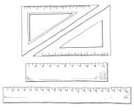 Χέρι που σύρεται ένα σύνολο κυβερνητών και τριγώνων Διανυσματική απεικόνιση ενός ύφους σκίτσων Στοκ Εικόνες