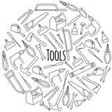 Χέρι που σύρεται γύρω από το σύνολο με τα εργαλεία στοκ εικόνα με δικαίωμα ελεύθερης χρήσης