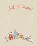 Χέρι που σύρεται διανυσματικά περιγραμματικά Χριστούγεννα και νέα κάρτα έτους διανυσματική απεικόνιση
