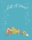 Χέρι που σύρεται διανυσματικά περιγραμματικά Χριστούγεννα και νέα κάρτα έτους ελεύθερη απεικόνιση δικαιώματος