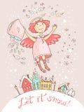Χέρι που σύρεται διανυσματικά Χριστούγεννα και νέα κάρτα έτους με τον άγγελο απεικόνιση αποθεμάτων
