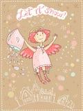 Χέρι που σύρεται διανυσματικά Χριστούγεννα και νέα κάρτα έτους με τον άγγελο ελεύθερη απεικόνιση δικαιώματος